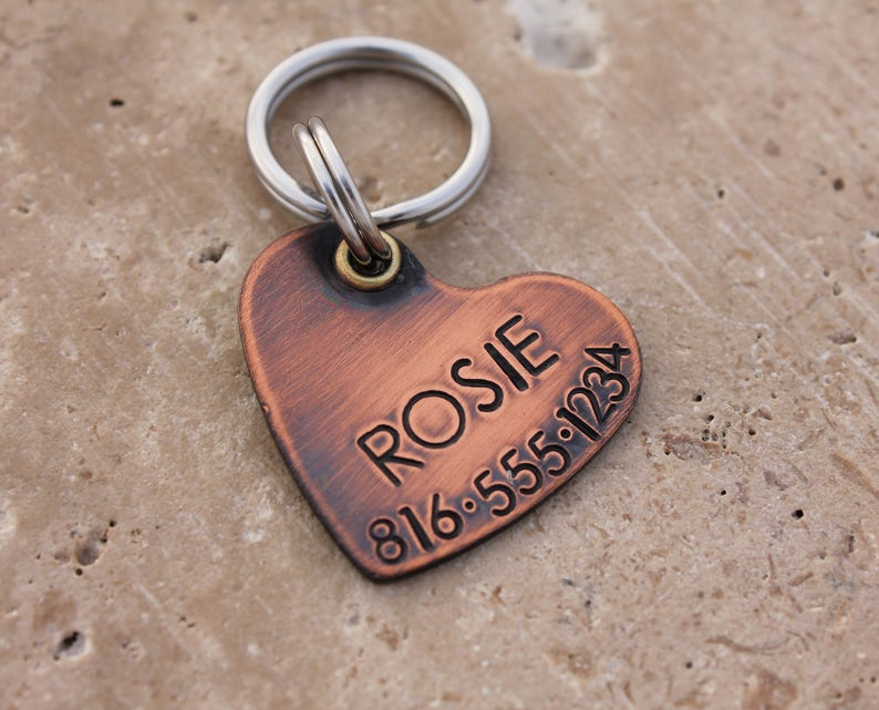 Copper Heart Dog Tag for Dogs  Personalized Pet ID Tag  Dog image 0