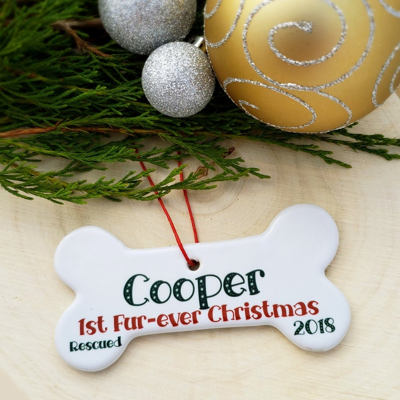 Adopted Dogs First Christmas Ornament Personalized  Puppys image 0