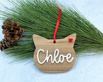 Personalized Cat Ornament - Wood Shiplap Kitty Name Ornament - Cat Christmas Gift - Rustic Cat Xmas Ornament