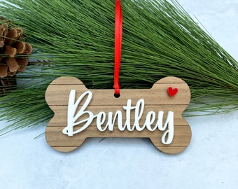 Personalized Dog Ornament - Custom Dog Bone - Wood Shiplap Puppy Name Bone - Dog Christmas Gift - Rustic Dog Bone Xmas Ornament
