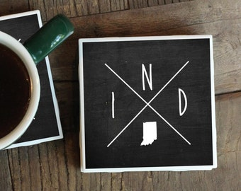 Indianapolis Coasters, Indiana Gift, Indiana Coasters, Housewarming Gift, Indiana Home Decor, Indianapolis Gift, Moving Away Gift, New Home