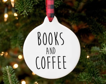 Books And Coffee Ornament / Literary Ornament / Coffee Ornament / Reading Ornament / Book Club Gift / Reading Gifts / Gifts for Readers