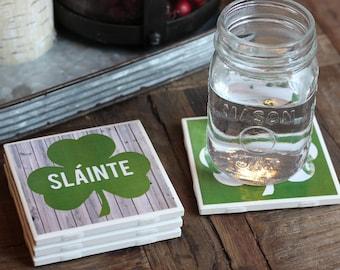 Irish Gift / Coasters / St Patrick's Day / Slainte / Shamrock / Tile Coasters / Ireland / Beer Gift / Irish / Irish Decor / Ireland Gift