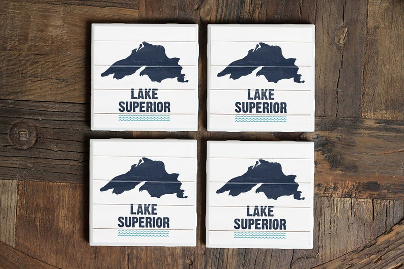 Great Lakes Gift Lake Superior Decor UP Lake Lake House Gift Housewarming Gift Minnesota Lake Lake Superior Coasters Lake House Decor
