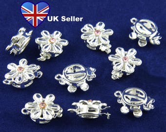 5x Daisy Design Silver Colour Necklace Clasp with Pink Rhinestone/Crystal - 2 part (tab & clasp). UK Seller. Cheap UK Postage.