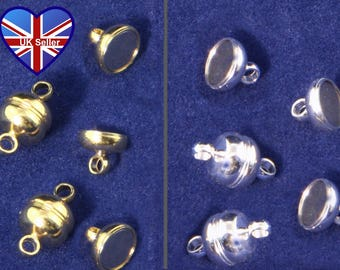 UK Seller. Cheap UK Postage. 5x Silver or Gold Plated Neodymium Magnetic Fasteners 7mm diameter. Findings*Clips*Clasps. Made in the UK.