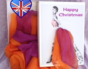 Personalised Scarf Card*Box*Gift*Present. Christmas*Birthday*Thank You. Vintage Glamour*Pin up Girl Scarves Skirt. Choose Style.