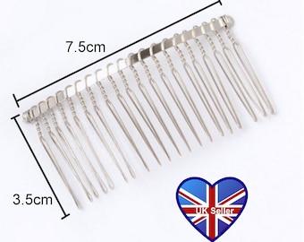 4x Silver Metal Wire Hair Comb (7.5cm). Millinery*Fascinators*Tiara base*Headband*Bridal*Flower*Wedding. UK Seller, Cheap UK Postage.