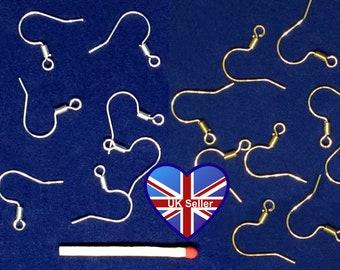 50x Nickel Free Shepherd/Fish Hook Earring Findings. 17mm Spring Design. Silver/Gold Colour. Pierced*Earwire. UK Seller. Cheap UK Postage.