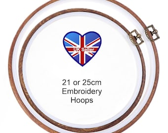 """21 or 25cm (8 or 10"""") diameter round Flexi Wood Effect Embroidery Hoop with hanging hook*Frame*Sewing*Cross stitch*canvas photo art work"""