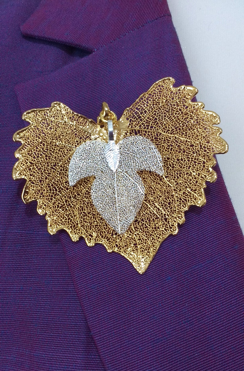 Real Cottonwood /& Evergreen Leaf BroochPendant Combo preservedplated in Gold and Silver