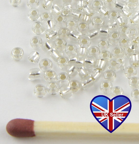 Pale Gold Transparent craft 50g glass seed beads approx 4mm size 6//0