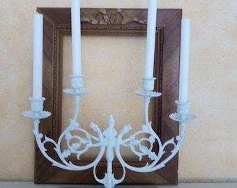 LARGE candle holder white patinated metal - unique
