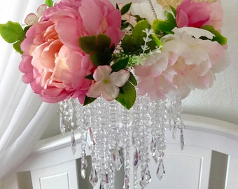 Party chandelier etsy baby mobile party chandelier peony princess aloadofball Choice Image