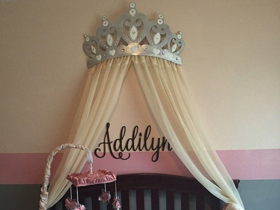 Bed Canopy Crown Wall Decor In Silver With Sheer Panels And Etsy
