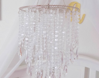 Chandelier mobile etsy baby mobile party chandelier crystal princess hanging chandelier also available in gold aloadofball