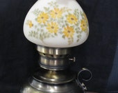 Fenton Hurricane Lamp with Hammered Brass Base and Yellow Daisy Flowered Shade