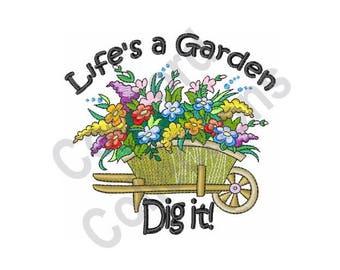 garden machine embroidery design flowers lifes a garden dig it - Lifes A Garden Dig It