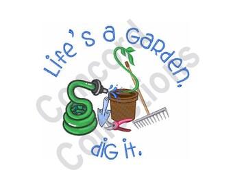 gardening tools machine embroidery design lifes a garden dig it - Lifes A Garden Dig It