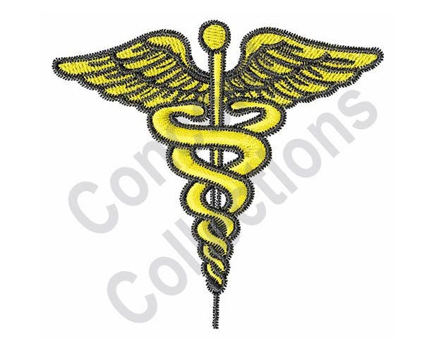 Medical Staff Machine Embroidery Design Caduceus Symbol Etsy