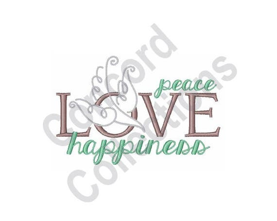Love Peace Happiness Machine Embroidery Design Love Peace Etsy Beauteous Love Peace Happiness