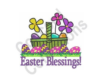 Easter Eggs And Basket - Machine Embroidery Design, Easter Blessings - Machine Embroidery Design
