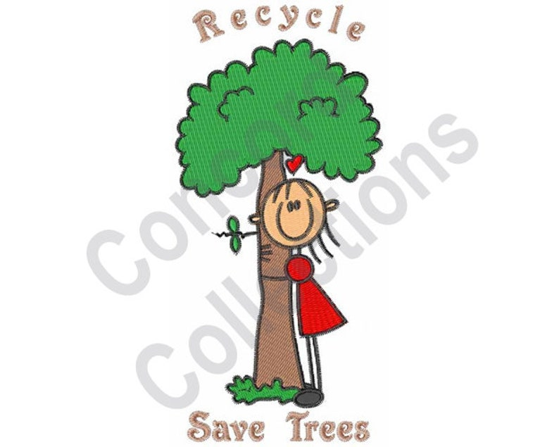 Tree Hugger Machine Embroidery Design Recycle Save Trees Etsy