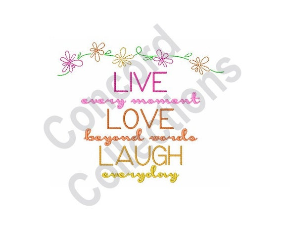 Live Love Laugh Machine Embroidery Design