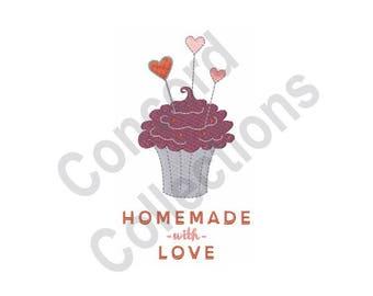 Homemade - Machine Embroidery Design, Cupcake, Homemade With Love