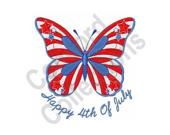 4 ° di luglio farfalla - macchina ricamo Design