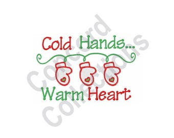 Winter Mittens - Machine Embroidery Design, Cold Hands ... Warm Heart