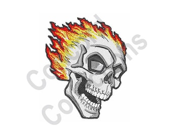 Flaming Skull Machine Embroidery Design