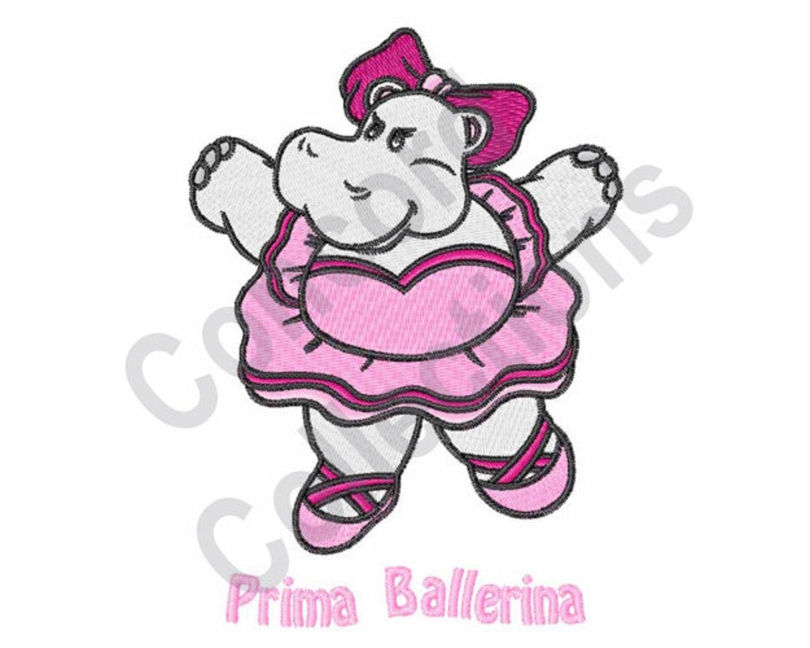 hippo - machine embroidery design, prima ballerina, ballerina, ballet