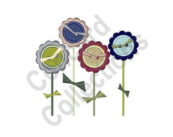 Button Flowers - Machine Embroidery Design, Flowers - Machine Embroidery Design, Buttons - Machine Embroidery Design