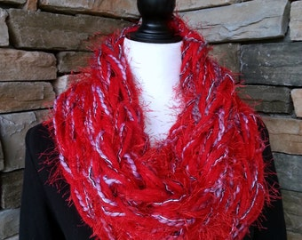 Arm Knit Scarf, Cowl Neck Scarf, Infinity Scarf, Knitted Scarf, Chunky Cowl, Red, White and Gray Scarf, Fuzzy Scarf