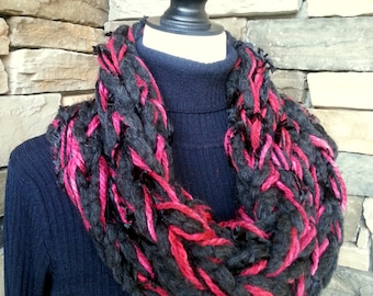Arm Knit Scarf, Cowl Neck Scarf, Infinity Scarf, Knitted Scarf, Chunky Cowl,  Red and Black Scarf, Fuzzy Scarf