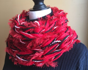 Red Arm Knit Scarf, Cowl Neck Scarf, Infinity Scarf, Knitted Scarf, Chunky Cowl, Red, White and Black Scarf, Fuzzy Scarf