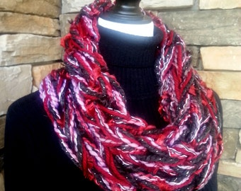 Arm Knit Scarf, Cowl Neck Scarf, Infinity Scarf, Knitted Scarf, Chunky Cowl, Red, Gray and Black Cowl, Fuzzy Scarf
