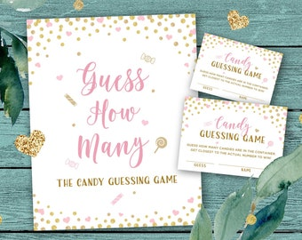 Candy Guessing Game, Pink and Gold Baby Shower Games Printable, Guess How Many Candies are in the Jar, DIY Activity, Sign and Cards Download