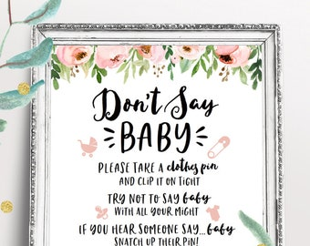 Flower Baby Shower Activity Sign, Don't Say Baby Game, Printable Baby Shower Decorations, Rustic Floral, Gender Neutral Shower, Download