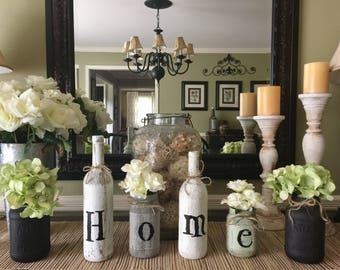 Wine Bottle Home Decor Rustic Home Decor Mason Jar Home Etsy