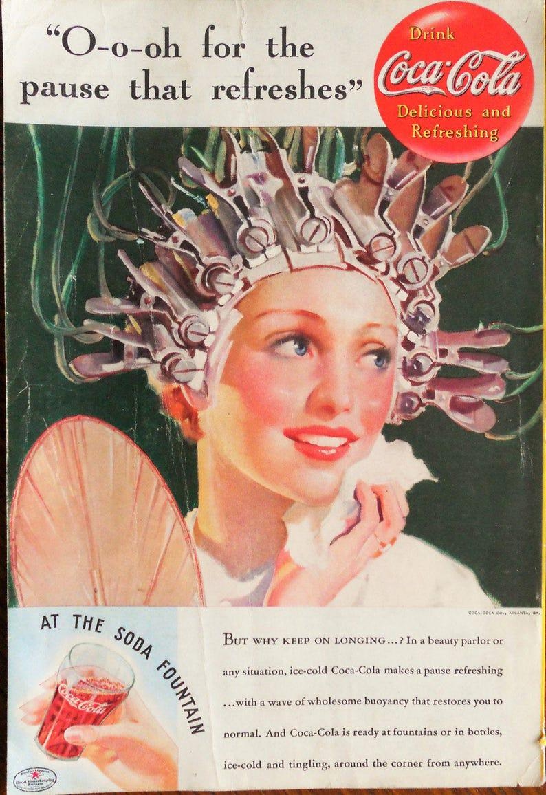 1935 Coca Cola ad  Vintage 1935 Coca Cola at the Beauty Shop  Retro Coca  Cola ad  Features a Permanent Wave Machine  Coca Cola ad
