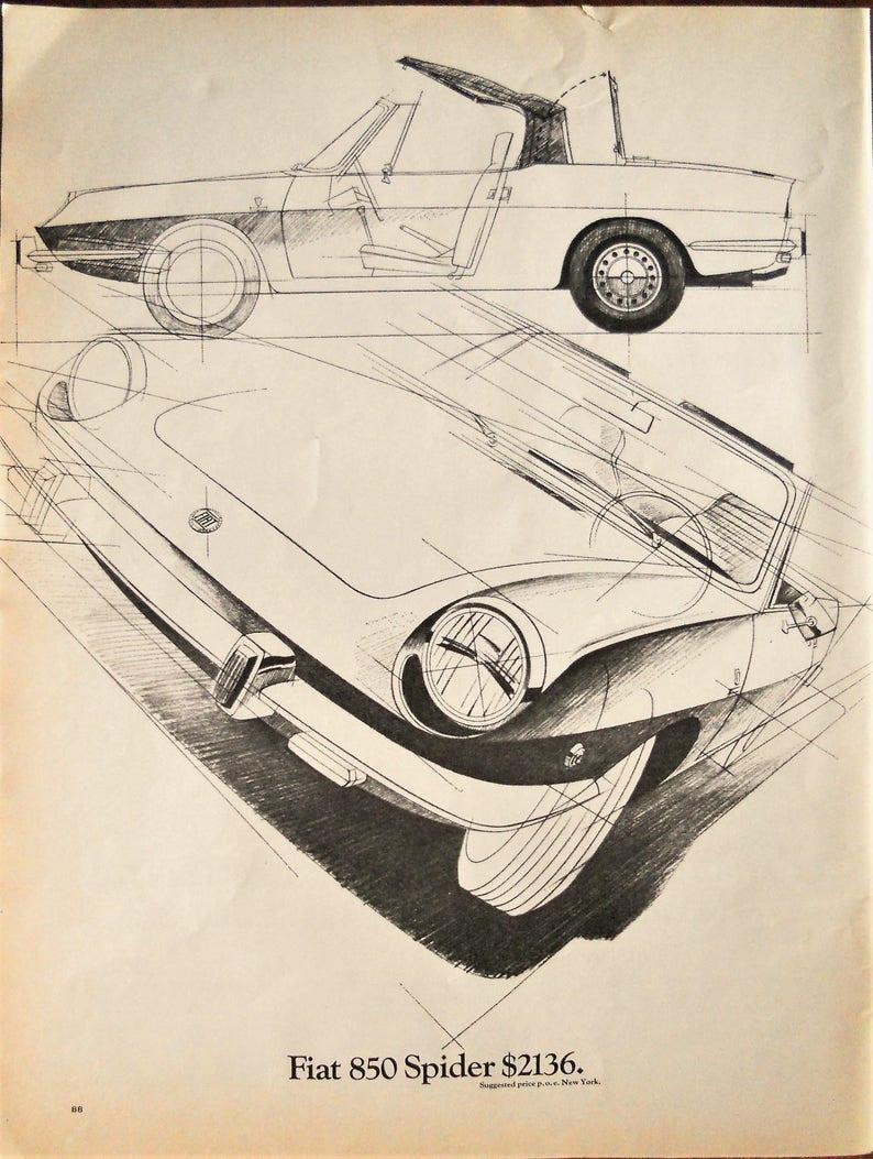 Architectural Spider Fiat De 1969Dessin 850 Annonce Vintage Ligne 1969 CBrxedoW