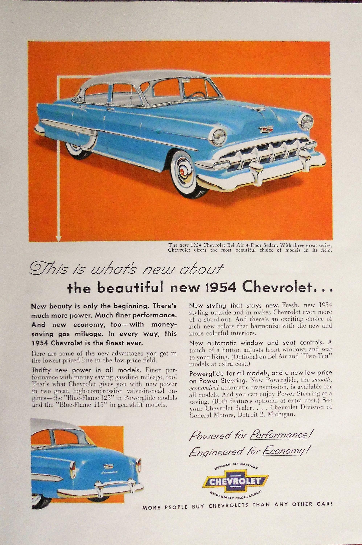 1954 Chevrolet Bel Air Ad Chevy Vintage Etsy Zoom