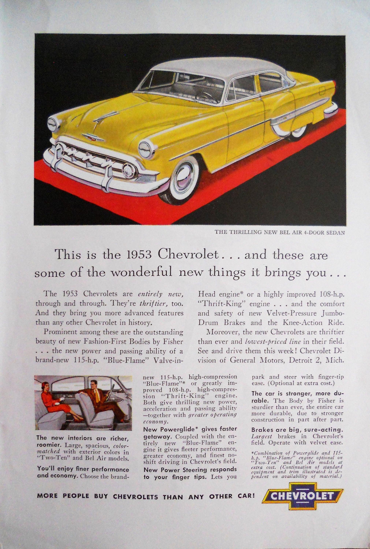 1953 Chevrolet Bel Air advertisement Vintage 1953 Chevy Bel
