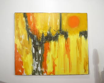 Mid Century Modern Abstract Painting on Canvas by Etta