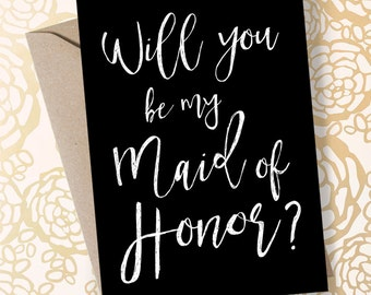 Maid of Honor Card Will You Be My Maid of Honor Printable Asking Maid of Honor Proposal Maid of Honor Invite Maid of Honor Sister  Printable