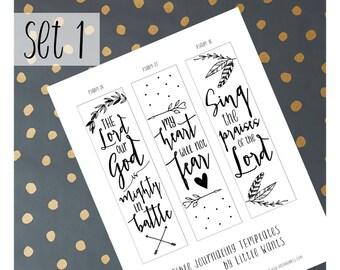 Bible Journaling Printable, Illustrated Faith, Bible Journaling Template, Bible Journaling Stencils, Psalm 27, Bible Verse Coloring, Set 1