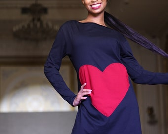 Large heart patch oversized black Tunic Tee.