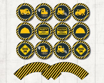 Construction Cupcake Toppers, Birthday Party Printable, Digital Download, Construction Party Decor, Baby Boy Birthday Celebration